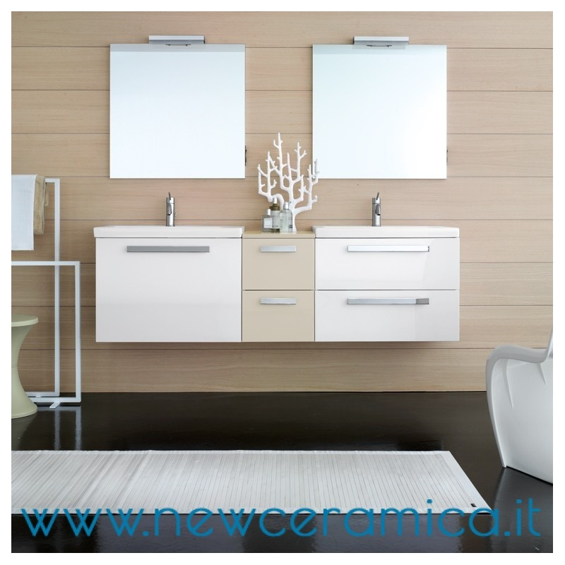 Composizione mobile da bagno square laccato lucido doppio lavabo