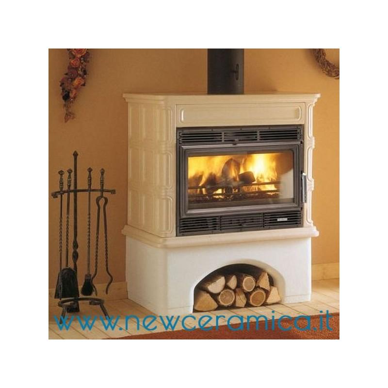 Stufa a legna ingrid ecopalex 76 rivestimento in ceramica palazzetti - Stufa caldaia a legna ...