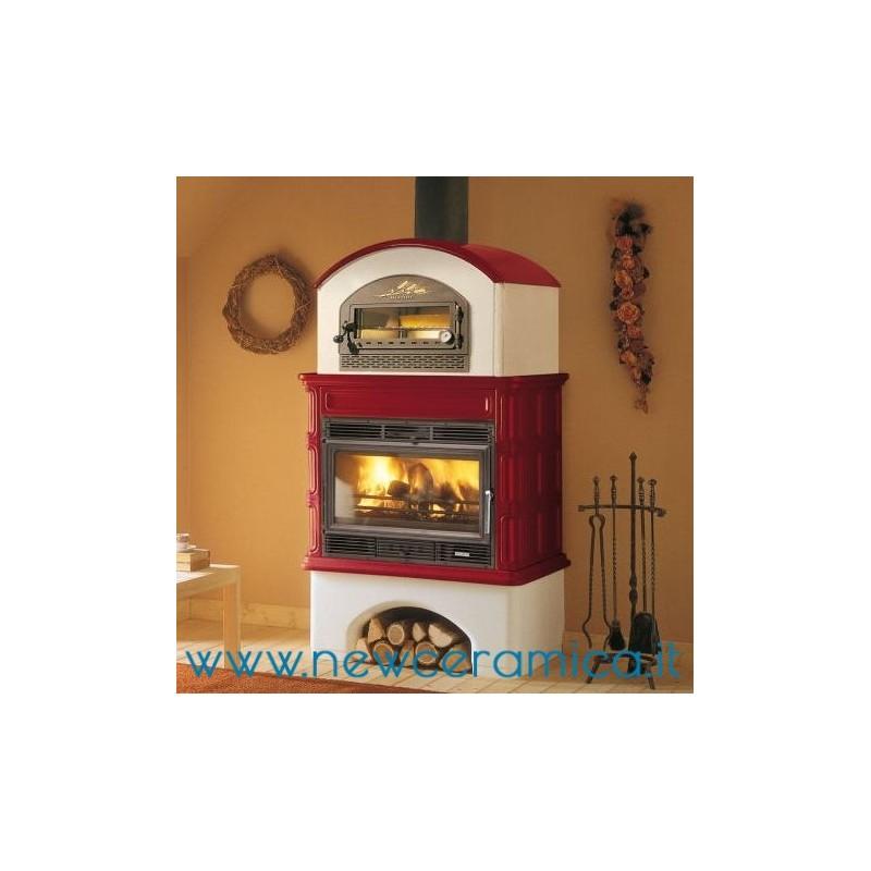 Stufa a legna ingrid con forno rivestimento in ceramica for Forno a legna portatile prezzi