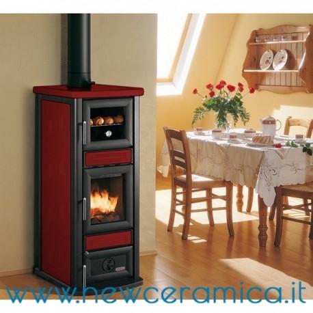 Stufa a legna stella con forno rivestimento in ceramica - Stufe a legna angolari ...