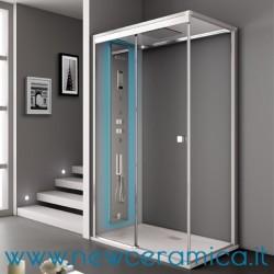 Cabina doccia Aquadesign Vapor Grandform con chusura scorrevole + lato fisso con piatto doccia
