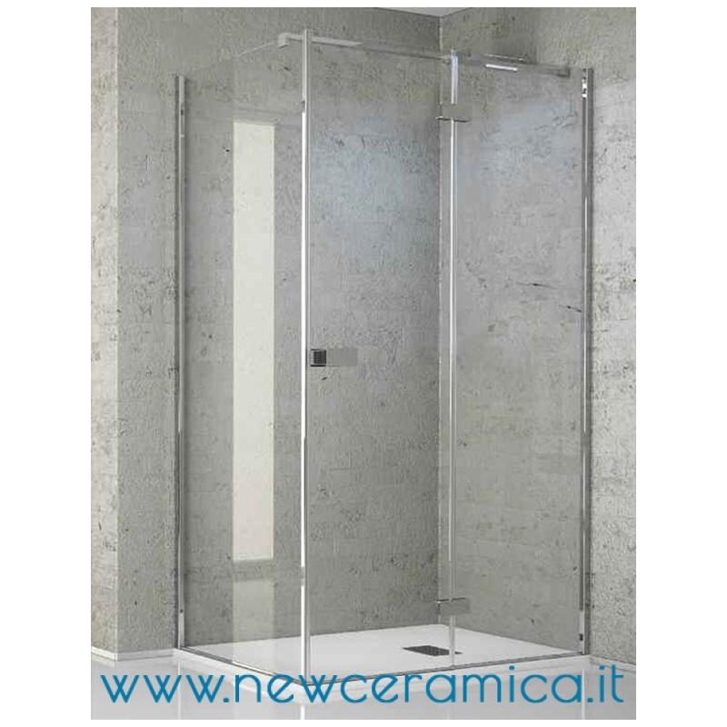 Chiusura doccia Aquasteel Solo Grandform con porta battente lato fisso