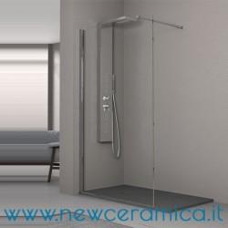 Chiusura doccia Aquascreen Solo Grandform con barra di fissaggio a muro con piatto doccia
