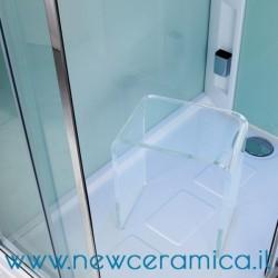 Sgabello per docce ad U in Plexiglass trasparente