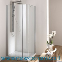 Box doccia angolare con porta a battente e lato fisso curvo modello SOHO