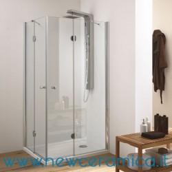 Box doccia angolare con porte a battenti con cerniere e due lati fissi modello SKA