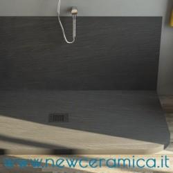 Piatto doccia asimmetrico texturizzato in marmo resina Rocky Classic