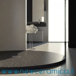 Piatto doccia circolare liscio texturizzato in marmo resina Rocky Classic
