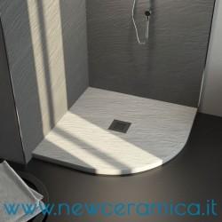Piatto doccia angolare texturizzato in marmo resina Rocky Classic