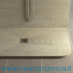 Piatto doccia asimmetrico texturizzato in marmo resina Rocky Wood