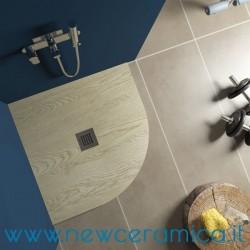 Piatto doccia angolare texturizzato in marmo resina Rocky Wood