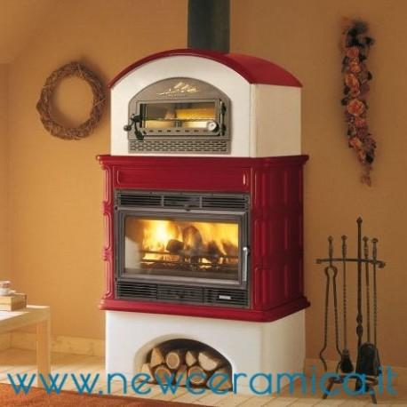 Stufa a legna Ingrid con forno rivestimento in ceramica Palazzetti